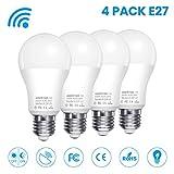 AMBOTHER LED Glühbirne mit Bewegungsmelder E27 Radarsensor Dämmerungssensor Sensor Lampe 7W ersetzt 60W Energiespar Smart Licht für Haustür Treppen Flur Garage Garten 4er-Pack (Weiß, 6500K)