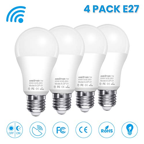 AMBOTHER LED Glühbirne mit Bewegungsmelder E27 Radarsensor Dämmerungssensor Sensor Lampe 7W ersetzt 60W Energiespar Smart Licht für Haustür Treppen Flur Garage Garten 4er-Pack (Weiß, - Garage Licht Sensor