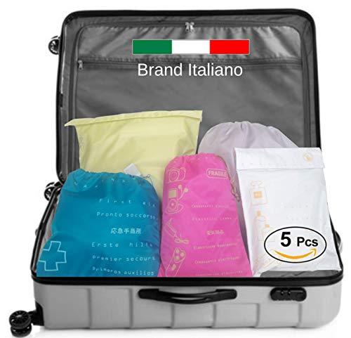 Set 5 Sacchetti Valigia Organizer, 5 Colori, DK, Seletti Italy, Salvaspazio, Ultraleggero, Ordine, Kit Buste da Viaggio, Porta Accessori, Trolley, Travel Bags