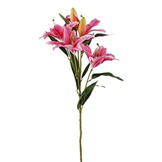 Flor Artificial Lirio de 6 Cabeza Decoración para Hogar Boda -Rosado Oscuro