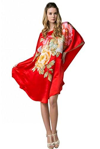 Prettystern - 100% Crêpe Satin de soie Kimono nuisette avec handpainted peinture chinoise YBS601 Rouge