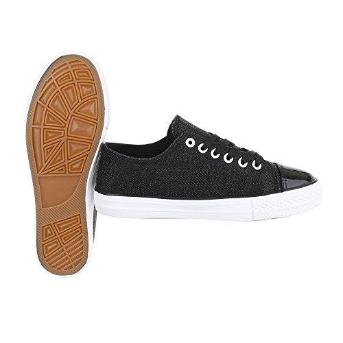 Ital-Design Sneakers Low Damenschuhe Sneakers Low Sneakers Schnürsenkel Freizeitschuhe Schwarz B105B-SP