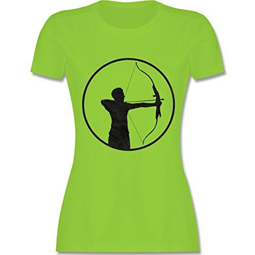 Shirtracer Sonstige Sportarten - Bogenschütze - Damen T-Shirt Rundhals Hellgrün