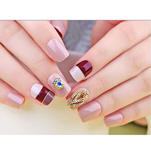 JIN HUA-fake nails 30-teilige Box Künstliche Nägel Multi-Farbe Mokka Faszination Style 2 3DBling Gebrochene Diamanten Short Square Press Künstliche Nägel Acryl