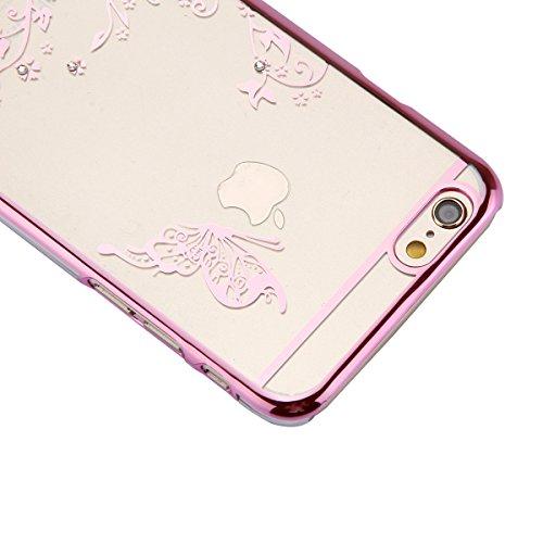 iPhone 6S / 6 Hülle (4,7 Zoll),iPhone 6S Hülle,iPhone 6 Hülle,Tasche für iPhone 6 / 6S,ikasus® Schutzhülle für iPhone 6 / 6S Silikon Hülle [Kristallklar Durchsichtig],Malerei Muster Stoßdämpfend Trans Blumen Schmetterling:Rosa