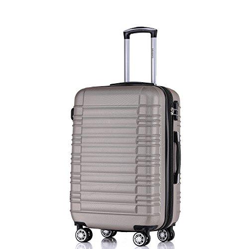 BEIBYE Zwillingsrollen Reisekoffer Koffer Handgepäck Trolleys Hartschale 2088 (Champagner, L)