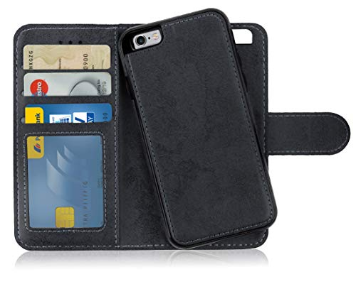 MyGadget Flip Case mit Back Cover [2 in 1] für Apple iPhone 6s / 6 - Magnetische Hülle in PU Leder Klapphülle - Kartenfach Schutzhülle Wallet - Schwarz Apple Iphone Magnet Flip Case