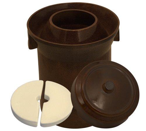 K&K Premium Gärtopf Form 1 - 10.0 Liter aus hochwertiger Steinzeug Keramik inkl. Deckel und Stein - 15mm Wandstärke