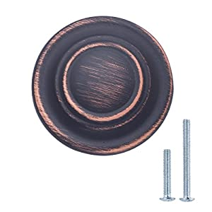 "AmazonBasics Traditional Top Ring Cabinet Knob, 1.25"" Diameter, Oil Rubbed Bronze, 10-Pack"