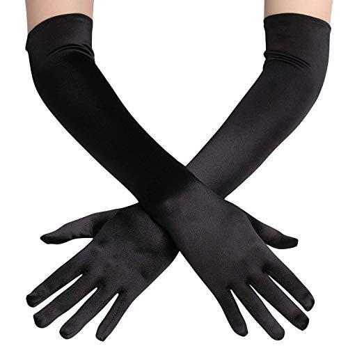 guanti lunghi raso FORLADY Guanti lunghi da sera Guanti in raso con gomito Guanti da cerimonia nuziale Guanti da ballo Prom Guanti da sposa