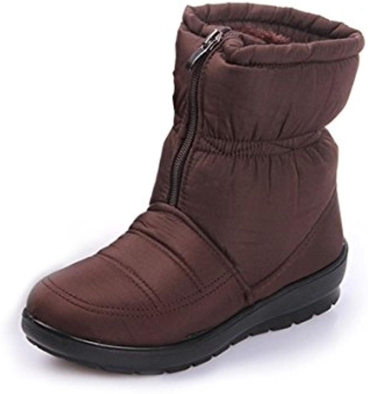 Damen Warm Gefüttert Boots Waterproof Winterstiefel Mutter Mode Schneestiefel Bow Ankle Boots Warme Schlupfstiefel