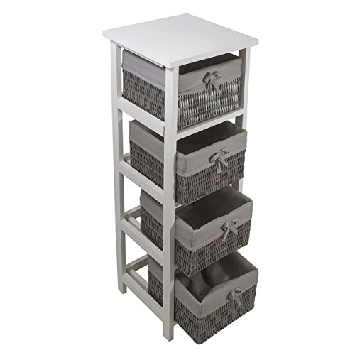 Carpemodo 'Rainy Kommode Weiß-Grau mit grauem Textilband 30x30x86 cm