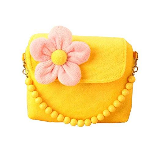 Happy Cherry Kinder Mädchen Mini Handtasche Umhängetashce mit Blumen Süß und Lieblich 14*12*4cm - Gelb (Stoff-handtaschen Gelbe)