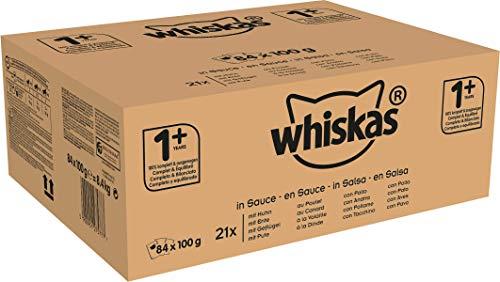 Whiskas Katzenfutter 1+ für erwachsene Katzen - saftige Geflügel-Auswahl in Sauce, 4 Geschmacksrichtungen / 84 Portionsbeutel (84 x 100 g)