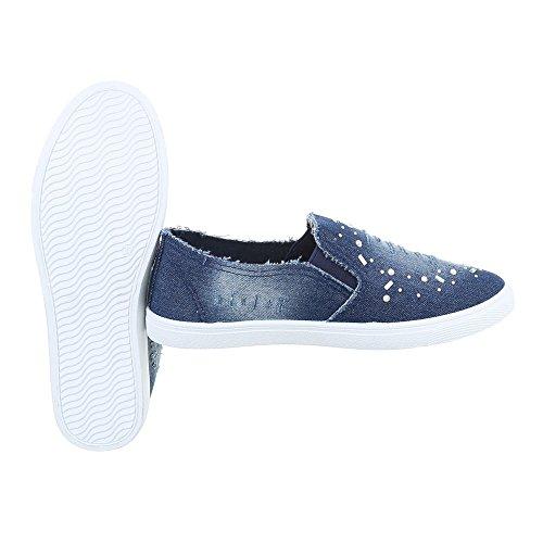 Slipper Damenschuhe Low-Top Moderne Reißverschluss Ital-Design Halbschuhe Blau FC-V201