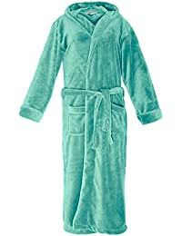 a67adcd5bc Lumaland Luxury Microfiber Bathrobe with Hood for Men and Women in  Different Sizes and Colors