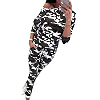 HTOOHTOOH Women's Casual Outfit Long Sleeve Top and Pant 2 Piece Tracksuit 1 M
