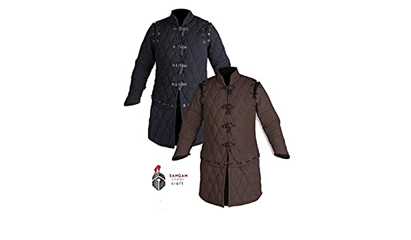 SANGAMSTEELCRAFT Gambeson Coat Aketon Jacke Armor Kost/üme Kleid SCA Mittelalter Dick Gepolsterte Sleeve-Less Voller L/änge