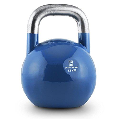 #Capital Sports Compket 12 Competition 12kg schwere Kettlebell Kugelhantel (Stahl, wetterfest, wettbewerbsnorm, abgeflachter Boden) blau#