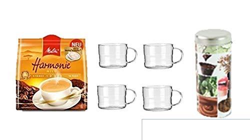 Melitta Kaffeepads Harmonie 16 Stk + + Geschenkeset Pad Dosen Deko neu beschriftbar mit 4 Glas Tassen 200ml