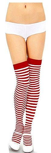 """Damen-Kostüm, """"Wo ist Walter?""""-Verkleidung, rot und weiß gestreift Gr. Einheitsgröße: Regulär, Ladies Socks (Ist Wally Damen Für Kostüm Wo)"""