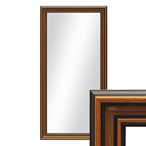 PHOTOLINI Wand-Spiegel 60x110 cm im Holzrahmen Antik Breit Dunkelbraun/Spiegelfläche 50x100 cm