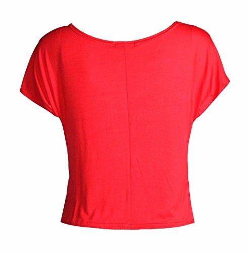 Frauen Lieben Es Glitzern Herzdruckes Viscose Jersey Kurz Top Rot