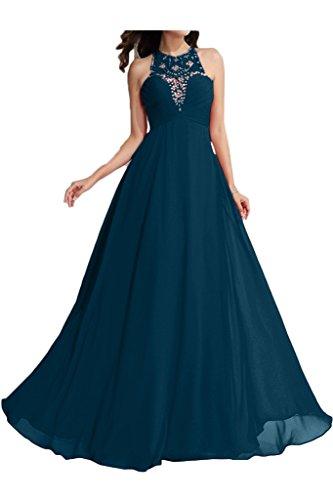 ivyd ressing robe fashion perles a col-ligne ronde fixe Soirée Party robe robe Tintenblau
