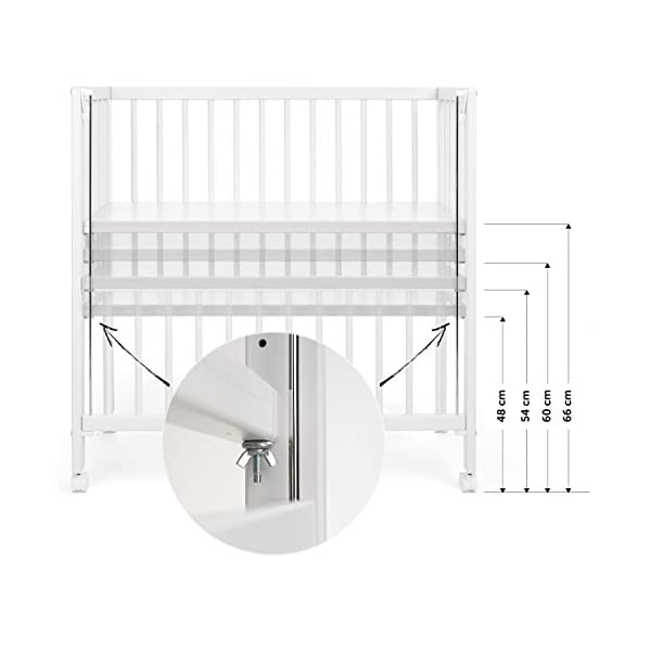 Fillikid Convertible Bedside Crib Vario 2in1 - Height Adjustable Bedside Cot with Wheels | 90 x 40 cm | Solid Beech Wood | Drop Side Rail | Fits Boxspring Beds - White  BEDSIDE CRIB DURING THE NIGHT: The bedside cot enables an easy access, hassle-free night time feeding and allows you to reach your baby without having to get up in the middle of the night. BASSINET DURING THE DAY: Simply pull up the side rail and use the cot as a stand-alone bed or bassinet. Four lockable wheels make it easy for you to move from one room to another having your newborn always on your side. FITS STANDARD AND BOXSPRING BEDS: The bed base can be placed on 4 different heights. It fits on every parent's mattress with a minimum height of 52 cm and a maximum height of 70 cm. The Vario Bedside Crib can easily be attached to your bed with the included support strap. 4