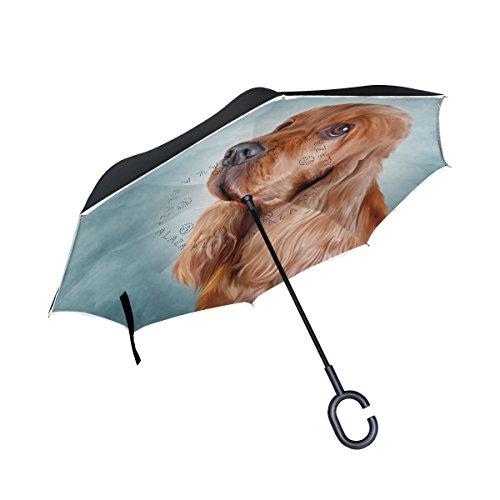 mydaily Double Layer seitenverkehrt Regenschirm Cars Rückseite Regenschirm ENGLISH COCKER SPANIEL HUND winddicht UV Proof Reisen Outdoor Regenschirm (Spaniel Regenschirm)