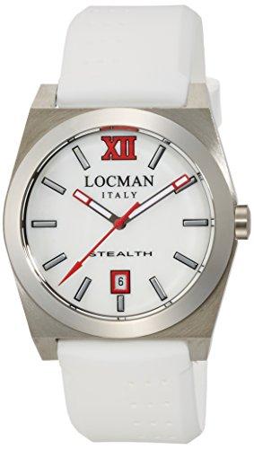 Locman Stealth / orologio donna / quadrante madreperla bianca / cassa acciaio e titanio / cinturino gomma bianca
