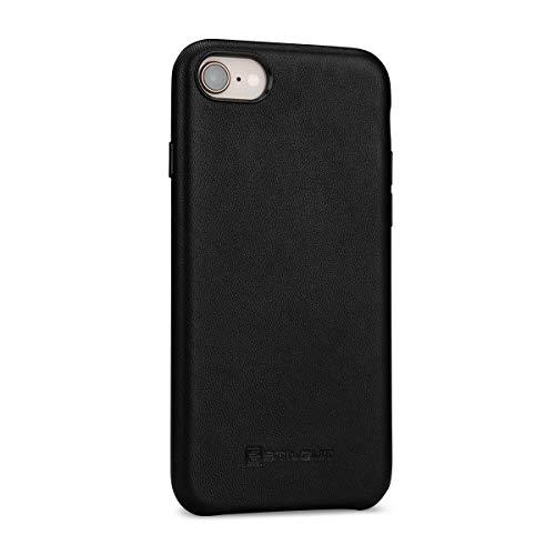 StilGut Premium Leder-Cover kompatibel mit iPhone 8/iPhone 7 aus Nappaleder, Schwarz mit Tastenschutz