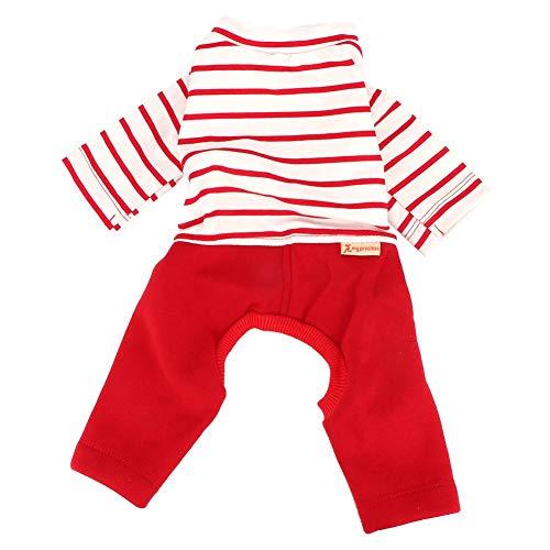 Haustier Hund Kleidung Red Stripe Welpen Outfits Katze Kleidung Hunde Kleidung Dog Pyjamas Jumpsuit Small Pet Cotton Kleidung Kostüm Vier Beine Weihnachtsschmuck(M)