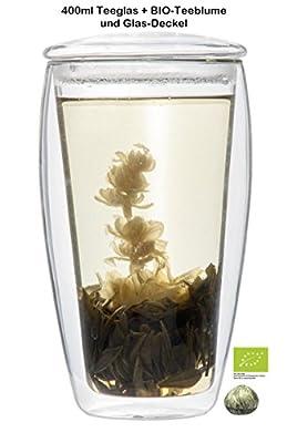 Feelino 1x 400ml XL doppelwandiges Verre à thé avec couvercle verre + Fleurs de thé bio Thé blanc (verre thermique avec effet de lévitation), idéal pour thé glacé, pour bureau, voiture ou cadeau, fleurs de thé bio, labionda par Feelino