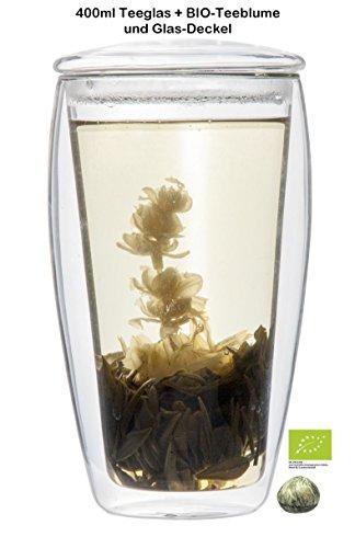 Feelino 1x 400ml XL doppelwandiges Teeglas mit Glasdeckel + BIO-Teeblume weißer Tee (Thermo-Glas mit Schwebe-Effekt), ideal für Eistee, fürs Büro, unterwegs oder als Geschenk, inkl. BIO-TEEBLUME! LaBionda von Feelino