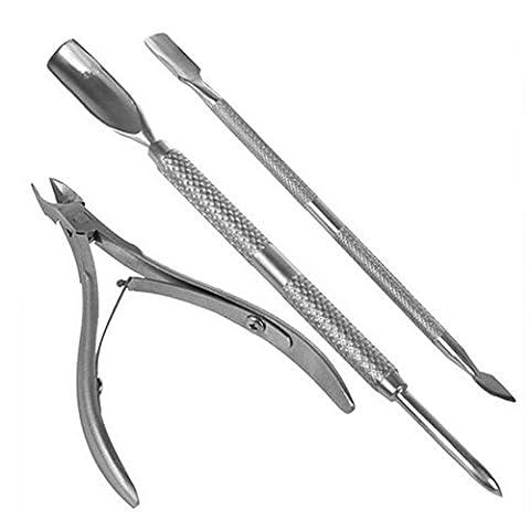 Pinkiou 3 pièces Peau morte Supprimer Ensemble Ciseaux à ongles Fourchette à fourche Nipper Clipper Cut Kit Outil de manucure pour ongles Art