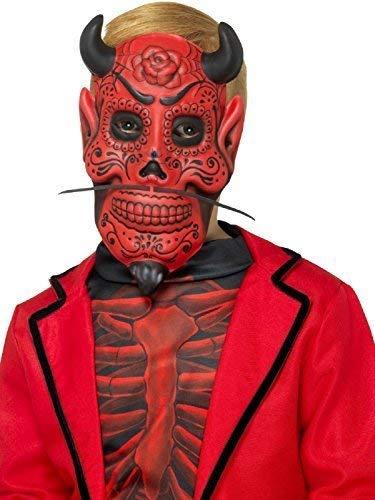 Fancy Me Jungen Mädchen Kinder Rot Tag der Toten Devil Skelett Mexikanisch Zuckerschädel Halloween Kostüm Maske (Mädchen Halloween-kostüm Kleine Tote)
