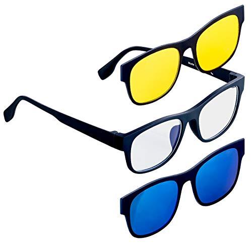 PEARL Blaulichtfilterbrille: 3in1-Bildschirm-Brille mit magnetischem Sonnen- und Nachtsicht-Aufsatz (Gamerbrille)