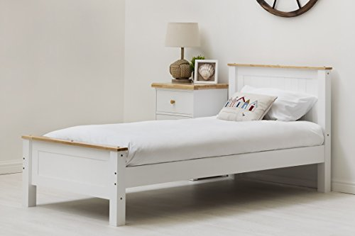 Tatton Solid Wood Country Farmhouse Style Bed Frame by Sleep Design. White or Grey Finish Single/Double/King Size. Shaker Style (Single, White)