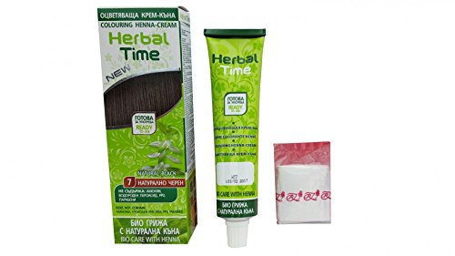 Herbal time, crema colorante con henna sin amoniaco, color negro natural 7
