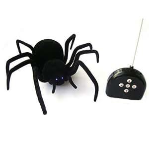 Lujex -Grand Araignée Veuve Noire - Contrôle à Télécommande à Distance – 30*30*8 cm - Yeux s'allument et et les crocs brillent dans le noir
