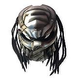 Helmet Casque intégral de Moto Vintage, Casque de Motocross Jagged Warrior Predator, Adultes chevauchants Unisexes, Casque de personnalité légère de Cross-Country LED,L