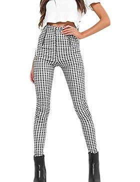Las Mujeres De 1940 Vintage Cremallera Guinga Checker Slim Los Pantalones De Cintura Alta