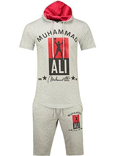 Herren Trainingsanzug / MUHAMMAD ALI Champion / Hose + Hoodie / SLIMFIT / Grau - kurz Medium