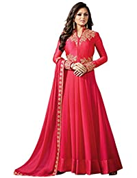Skyblue Fashion Women's Georgette Dress Material (FDGSD6999_Free Size_red)