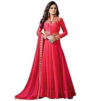 Misha Fashion Women's Faux Georgette Gown (Pink_Free Size)