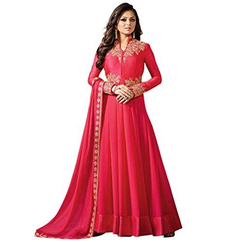 Misha Fashion Designer Pink Anarkali Partywear Gown