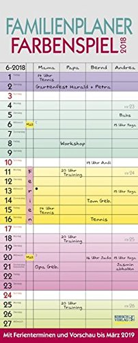 Preisvergleich Produktbild Familienplaner Farbenspiel 2018: Praktischer Familienkalender mit 4 breiten Spalten, Ferienterminen, Vorschau bis März 2019 und nützlichen Zusatzinformationen.