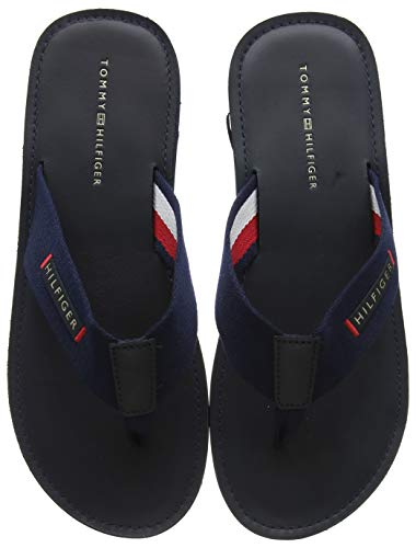 Tommy Hilfiger Elevated Leather Beach Sandal, Infradito Uomo, Blu (Midnight 403), 43 EU