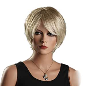 CoolShort Bob Gold Slight Curly Wave side swept fringe